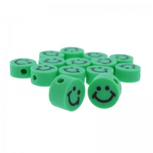 Katsuki kralen smiley rond groen 10x5mm (per stuk)