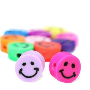 Katsuki kralen smiley rond multicolour 10x5mm (per 5 stuks)