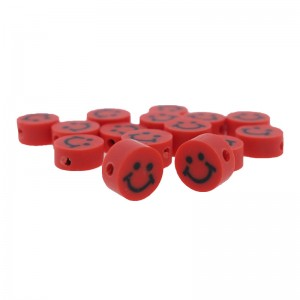 Katsuki kralen smiley rond rood 10x5mm (per stuk)