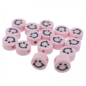 Katsuki kralen smiley rond roze 10x5mm (per stuk)