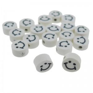 Katsuki kralen smiley rond wit 10x5mm (per stuk)