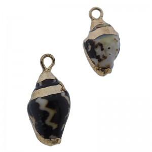 Kauri schelp hanger ca. 18x10mm zwart beige gold