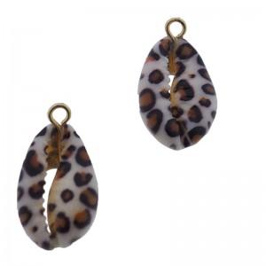 Kauri schelp hanger ca. 20x12mm leopard gold