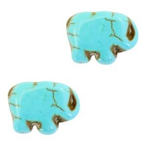 Keramiek turquoise kraal olifant 14x10mm turquoise blue