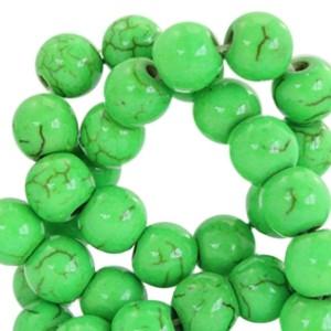 Keramiek turquoise kraal rond 6mm bright green