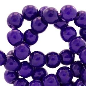 Keramiek turquoise kraal rond 6mm dark purple