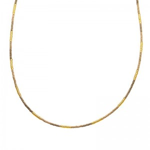 Ketting kralen Biba kleurenmix beige goudkleurig