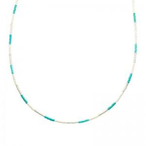 Ketting kralen Biba kleurenmix blauw 2 zilverkleurig