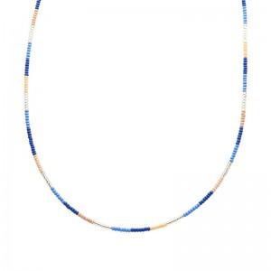 Ketting kralen Biba kleurenmix blauw zilverkleurig