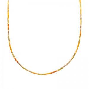 Ketting kralen Biba kleurenmix geel goudkleurig