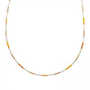 Ketting kralen Biba kleurenmix geel zilverkleurig