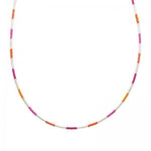 Ketting kralen Biba kleurenmix oranje zilverkleurig