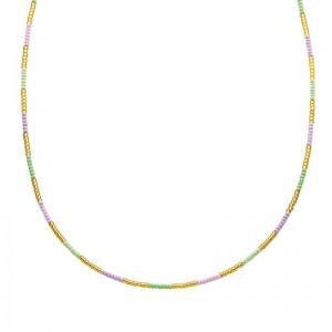 Ketting kralen Biba kleurenmix paars goudkleurig