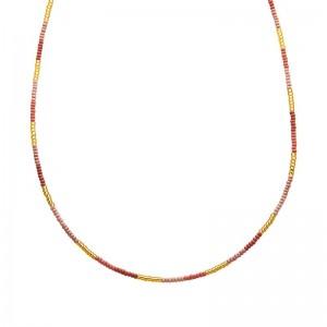 Ketting kralen Biba kleurenmix roze 2 goudkleurig