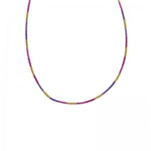 Ketting kralen Biba kleurenmix roze goudkleurig
