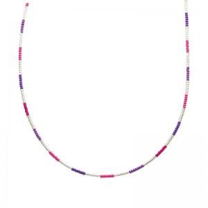 Ketting kralen Biba kleurenmix roze zilverkleurig