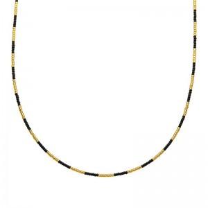Ketting kralen Biba kleurenmix zwart goudkleurig