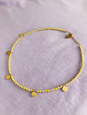 diy-pakket-kralen-choker-mix-geel-lila-met-gouden-muntjes