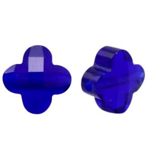 Klaver facet glaskraal cobalt blue 10mm