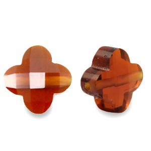 Klaver facet glaskraal smoked topaz 10mm