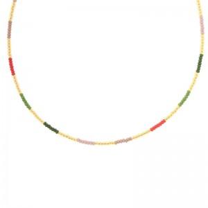 Kralenketting Biba kleurenmix beige goudkleurig 45cm