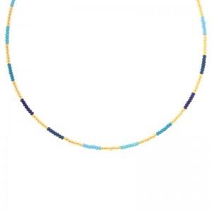 Kralenketting Biba kleurenmix blauw goudkleurig 45cm