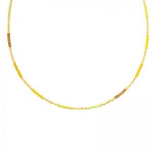 Kralenketting Biba kleurenmix geel goudkleurig 45cm
