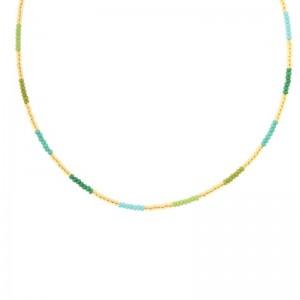 Kralenketting Biba kleurenmix groen goudkleurig 45cm