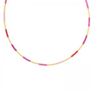 Kralenketting Biba kleurenmix roze goudkleurig 45cm