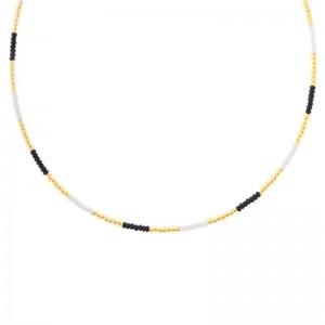 Kralenketting Biba kleurenmix zwart goudkleurig 45cm