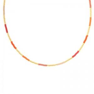 Kralenketting Biba kleurenmix2 rood oranje goudkleurig 45cm