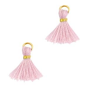 Kwastje mini (stof) met oog Ibiza style 1cm goud antique pink