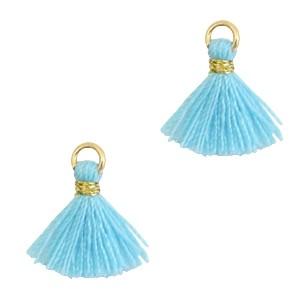 Kwastje mini (stof) met oog Ibiza style 1cm goud bambino blue