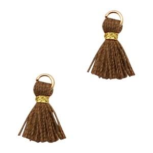 Kwastje mini (stof) met oog Ibiza style 1cm goud chocolate brown