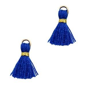 Kwastje mini (stof) met oog Ibiza style 1cm goud cobalt blue