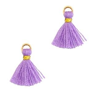 Kwastje mini (stof) met oog Ibiza style 1cm goud deep lavender purple
