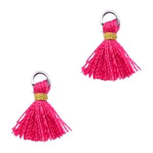 Kwastje mini (stof) met oog Ibiza style 1cm goud fuchsia pink