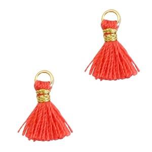 Kwastje mini (stof) met oog Ibiza style 1cm goud fushion coral red