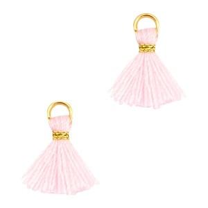 Kwastje mini (stof) met oog Ibiza style 1cm goud licht roze