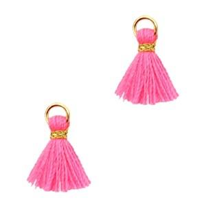 Kwastje mini (stof) met oog Ibiza style 1cm goud neon pink