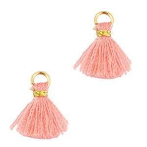 Kwastje mini (stof) met oog Ibiza style 1cm goud rose peach