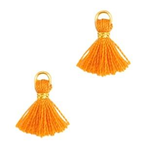 Kwastje mini (stof) met oog Ibiza style 1cm goud russet orange