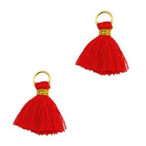 Kwastje mini (stof) met oog Ibiza style 1cm goud scarlet red