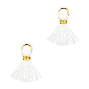 Kwastje mini (stof) met oog Ibiza style 1cm goud wit
