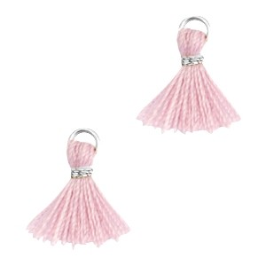 Kwastje mini (stof) met oog Ibiza style 1cm zilver antique pink