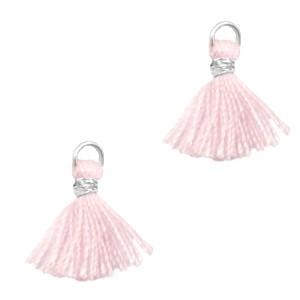 Kwastje mini (stof) met oog Ibiza style 1cm zilver apple blossom pink