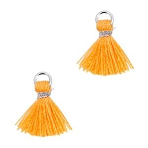 Kwastje mini (stof) met oog Ibiza style 1cm zilver coral orange