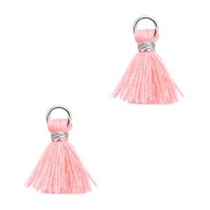 Kwastje mini (stof) met oog Ibiza style 1cm zilver coral pink
