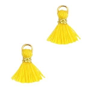 Kwastje mini (stof) met oog Ibiza style 1cm zilver mimosa yellow