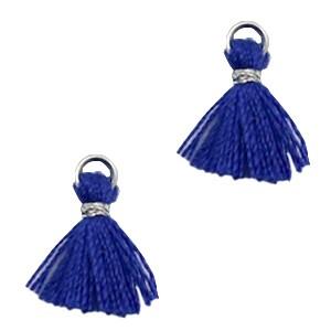Kwastje mini (stof) met oog Ibiza style 1cm zilver navy blue